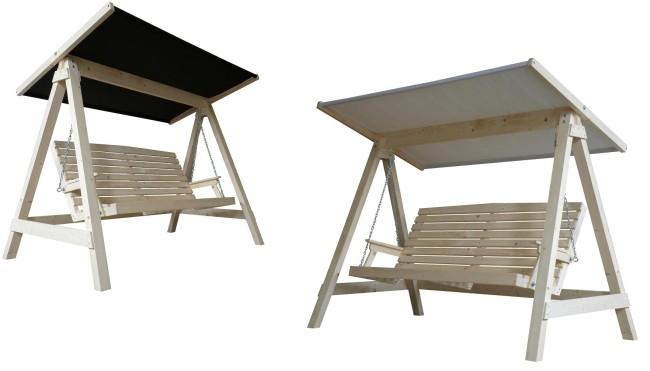 Dřevěná zahradní houpačka Adeko pro 3 osoby + střecha