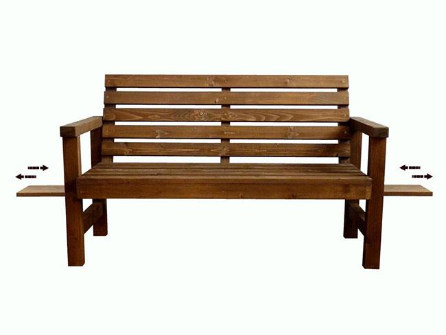 Dřevěná lavička s výsuvným policemi 120CM