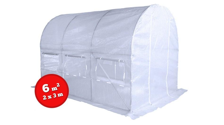 Home & Garden zahradní skleník, foliovník 2x3m - 6m2 bílý