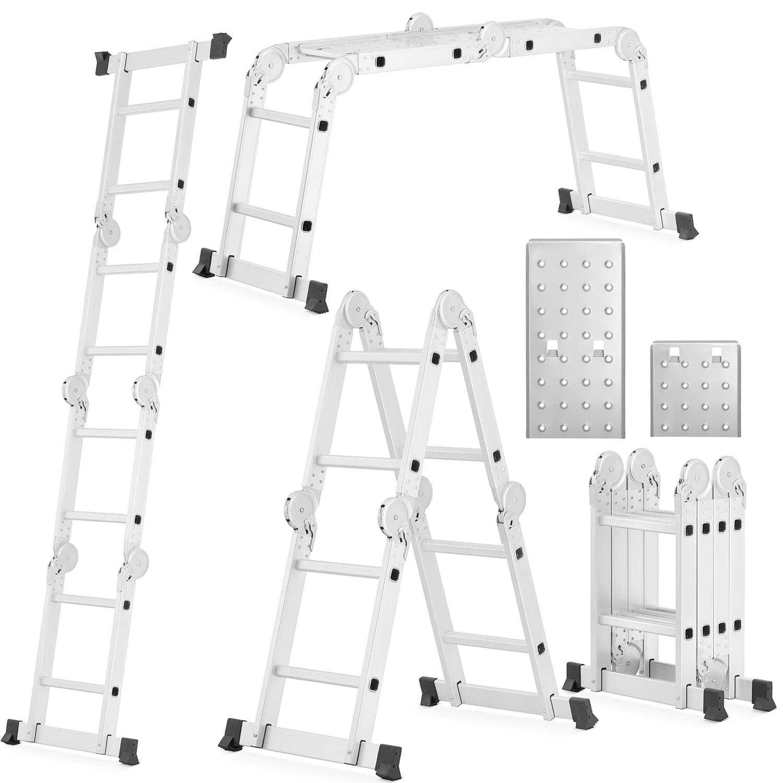 HIGHER Hliníkový multifunkční žebřík 4x2-3,5M + plošina