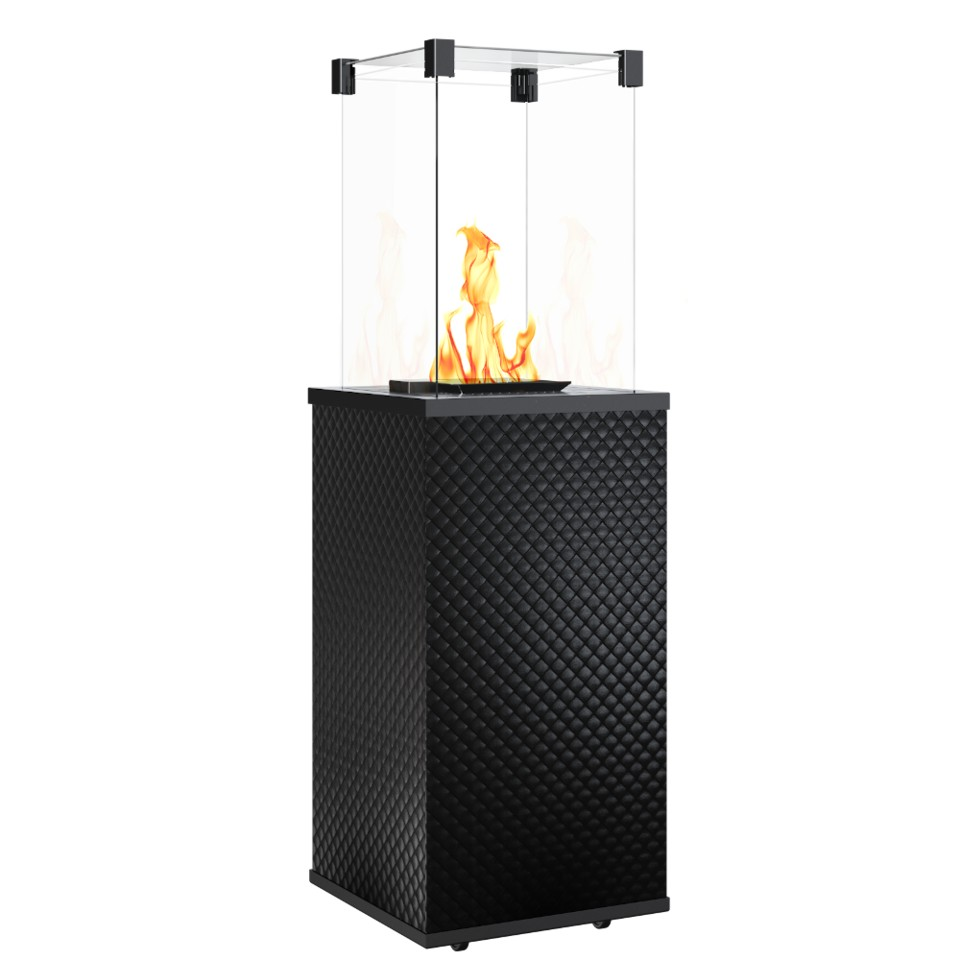 KRATKI PATIO sklo/černý- prošívaný plynový ohřívač - manuální