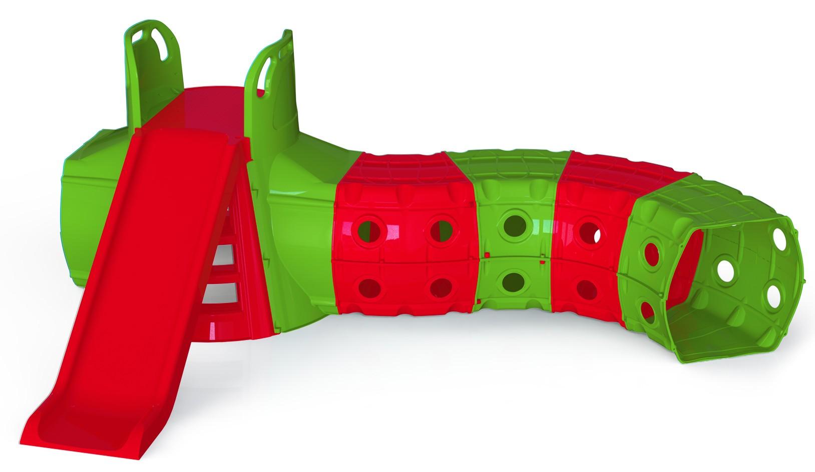 DOLONI Skluzavka s tunelem 130 cm zeleno-červená